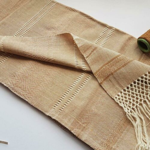 Rebozo sjal i beige fra Mexico 2,5 m