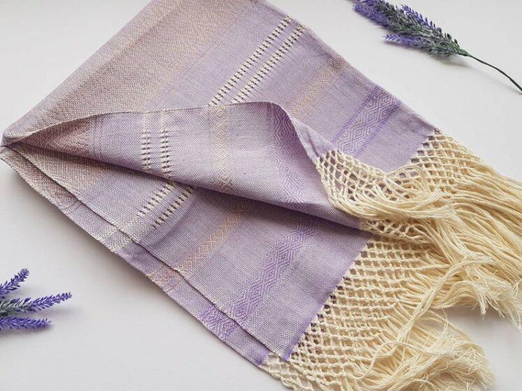 Rebozo sjal i lys lilla fra Mexico 2,5 m