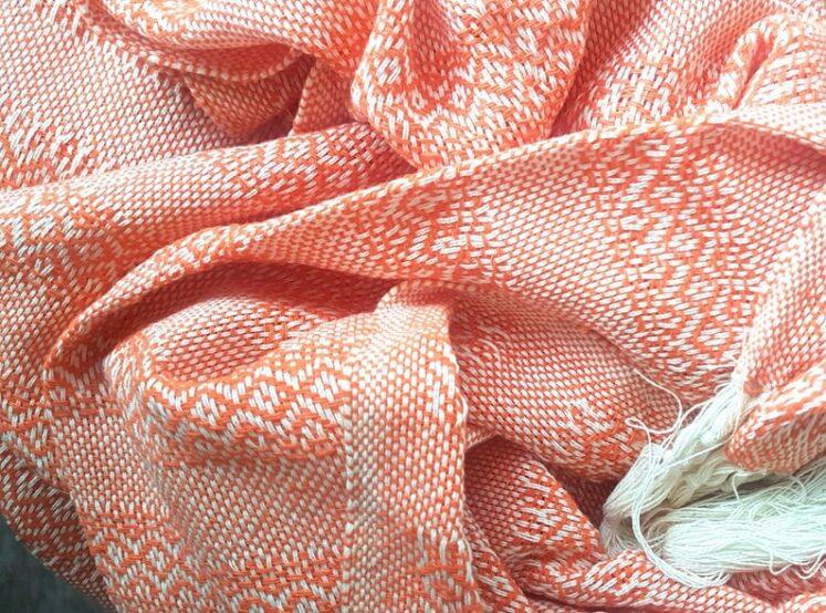 Rebozo sjal i Aprikos (orange), fra Mexico 2,5 m