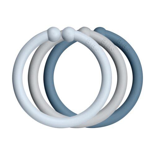 Loops legeringe fra Bibs I Baby blue, Cloud og Petrol (12 stk).