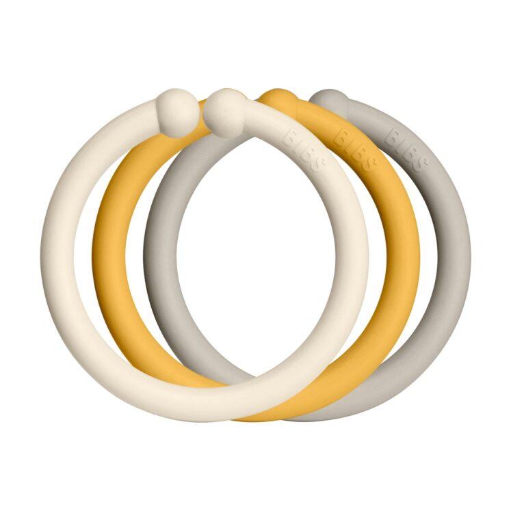 Loops lege ringe fra Bibs I Ivory, Honey og Sand (12 stk).