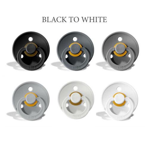 Bibs colour 6 stk Black to White MIX – latex sutter i str. 2