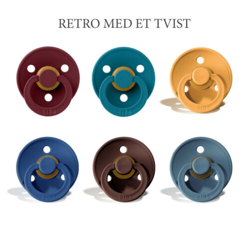 Bibs colour 6 stk Retro med et Twist – latex sutter i str. 2