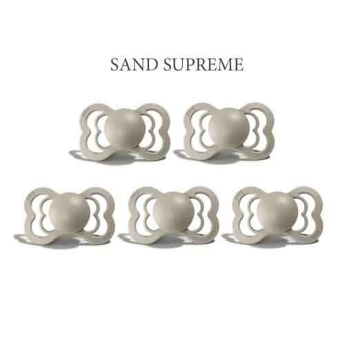 Bibs SUPREME Sand, 5 sutter i silikone st. 2