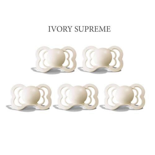 Bibs SUPREME Ivory 5 sutter i silikone st. 2