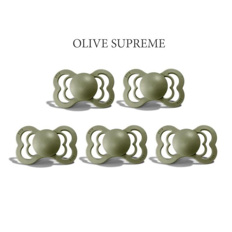 Bibs SUPREME Olive 5 sutter, silikone st. 2