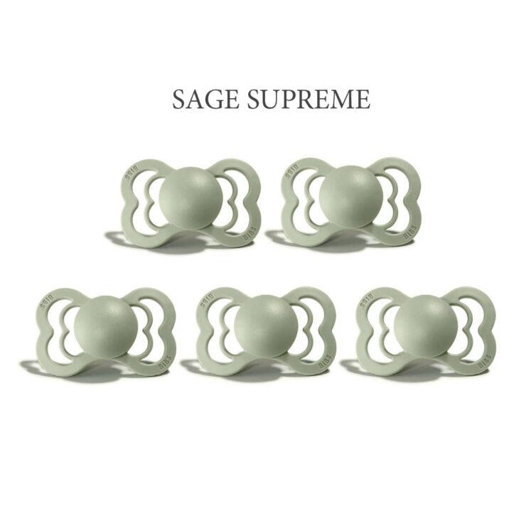 Bibs SUPREME Sage 5 sutte i silikone st. 2