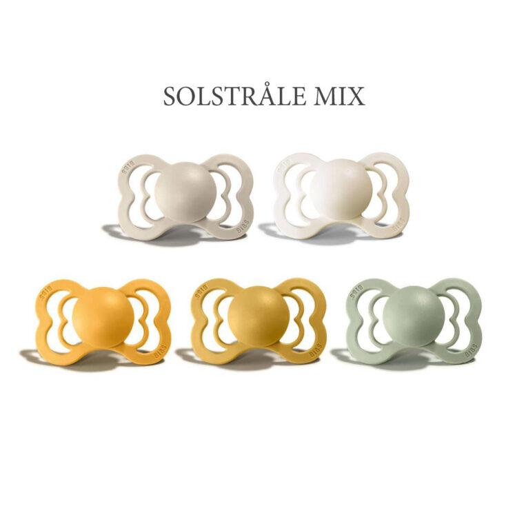 5 stk Solstråle Mix, Bibs SUPREME sutter i silikone st. 2