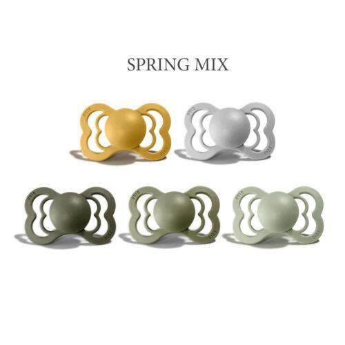5 stk Spring Mix, Bibs SUPREME sutter i silikone st. 2