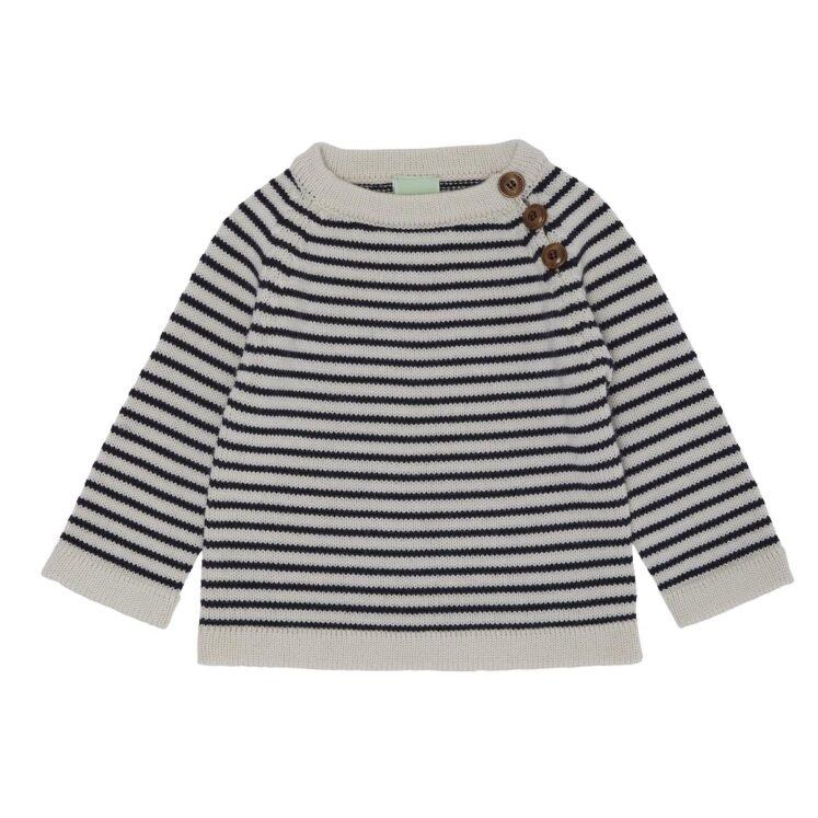 Sweater med striber i Ecru og Dark Navy fra FUB