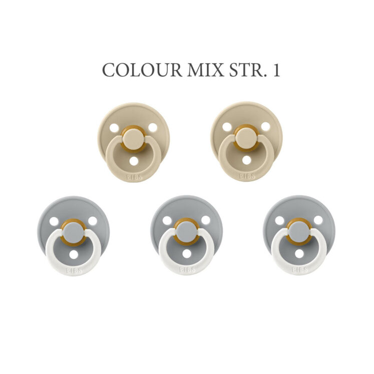 1 str – Bibs Colour Mix med 5 latex sutter i størrelse 1